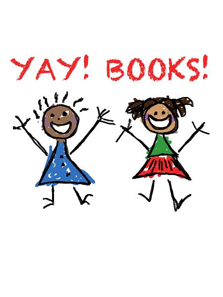 Education-themed drawing, childlike, celebrating literacy and reading. Yay books!