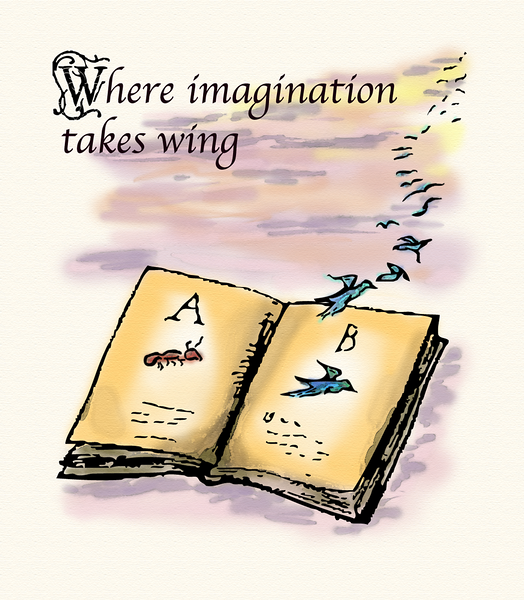 Where imagination takes wing: a book. Edward-Lear-inspired drawing of a book literally flying away.