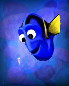 Dory and Her Squishy.  Done for the PixArt Blog's Salute to Pixar's Heroines, check it out: http://pixartimes.com/2012/06/13/pixart-salutes-the-pixar-heroine-batch-2/