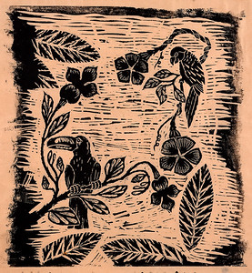 Woodcut Illustration for Catalog Cover
