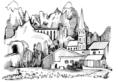 Landschafst, Gebirge, Kirche, Dorf