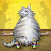 "Cat at on Ya<br /> To be published in 2012<br /> in ""Sick of School"" Alphabet book, 26 reasons not to go to school.<br /> All Rights Reserved, copyright Laura Hoffman, 2011"