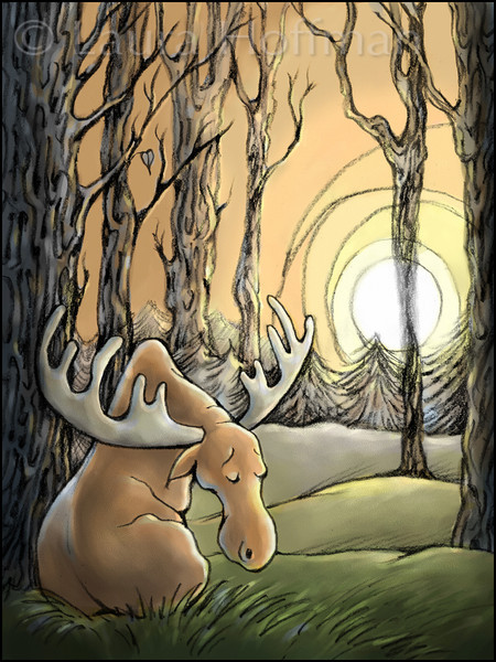 Page 14, Moose on the Move<br /> Moose feels like he's truly alone - no one understands him.<br /> <br /> Illustrated by Laura Hoffman