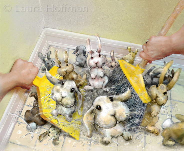 Dust Bunnies<br /> Certificate of Merit, Illustration West 49, 2011<br /> All Rights Reserved, copyright Laura Hoffman, 2011