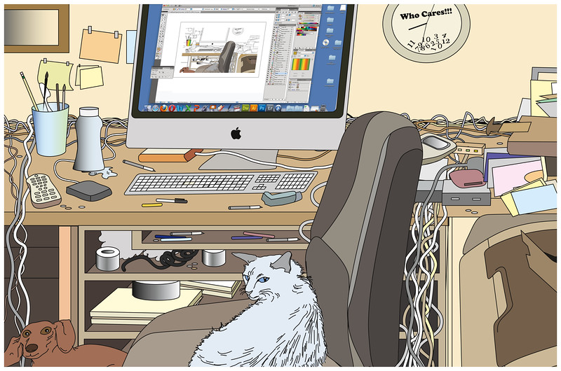 My Office<br /> Won Entry to Illustration West 50, 2012<br /> All Rights Reserved, copyright Laura Hoffman, 2011