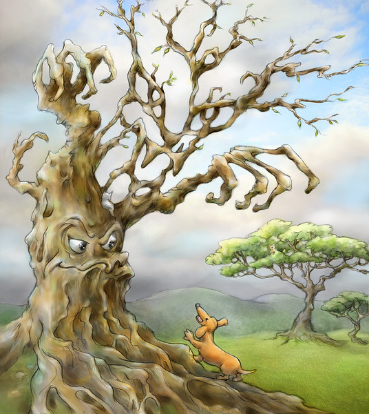 Barking Up the Wrong Tree - Painted, by Laura Hoffman