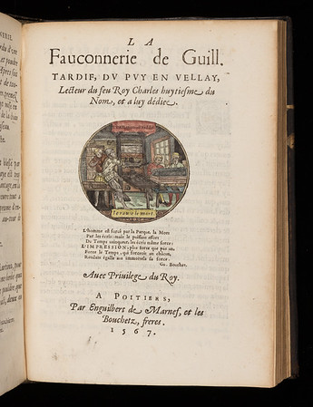 Hand-coloured device featuring a printing press