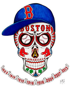 Red Sox Sugar Skull