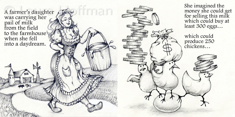 Page 2-3 Spread<br /> Tale of the Milkmaid<br /> Aesops Fable<br /> Illustrations by Laura D. Hoffman
