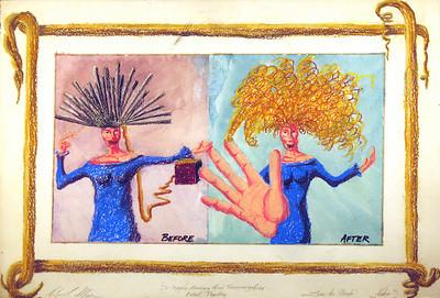Dr. Xygos's Amazing Hair Transmogrifier, Patent Pending. Luna de Mambo series. Gouache and oil pastel.