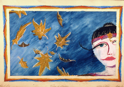Princess of Leaves, Luna de Mambo series. Gouache and oil pastel.