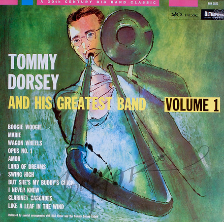 Record album, Tommy Dorsey and His Greatest Band Vol. 1 (20th Century Fox FOX 3022, 1959). Illustration by Irv Docktor