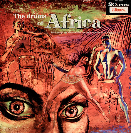 Record album, Prince Onago & Princess Muana & Native Drummers of the Belgian Congo: The Drums of Africa (20th Century Fox FOX 3000, 1959). Illustration by Irv Docktor