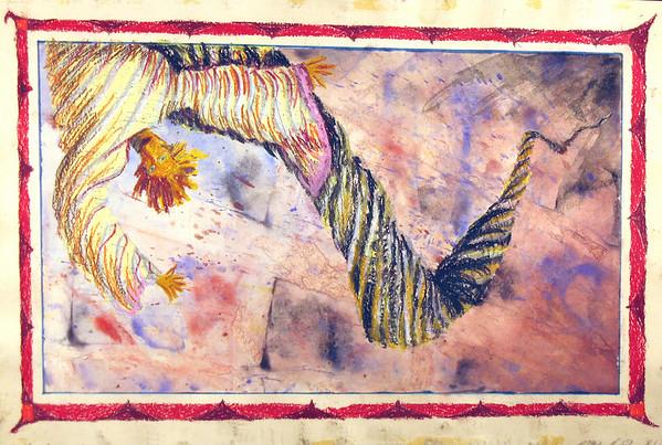 """""""WEEEeeeeeeeeeeeeeeee!"""", Luna de Mambo series. Gouache and oil pastel."""
