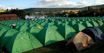 Campsite in Pamplona with 99% Aussies