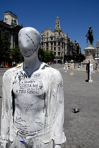 Artwork in the street; about 50-70 of these were lined up in a major square for about a month with security around them at night.  Some, like this, you could write on.  Others were made of a thousand different materials.  The artists all donated these for a charity.