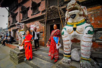 Nice ladies outside a temple
