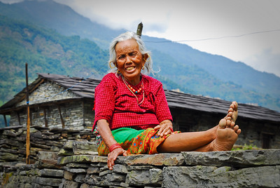 Local woman with the probably the cleanest feet in the village (...no joke )