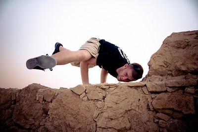A yogii climbs Masada