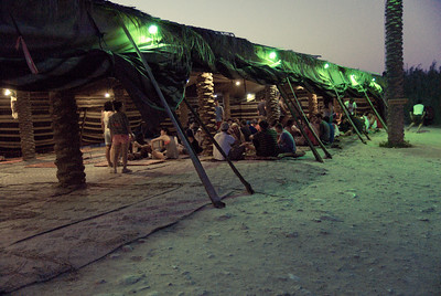 Tourist dining posed as a bedouin tent