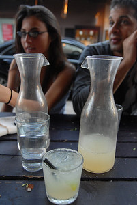 This picture sucks, but I put it up because it should serve as a reminder to know the prices of items you order.  These pitchers of Margaritas cost us 50$ each.  WTF