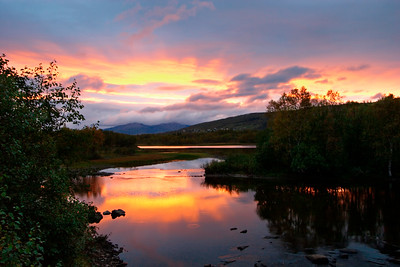 Norwegian river at sunset