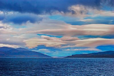Cloudy sky over lake Torneträsk at dusk
