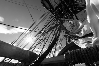 Reefed sails on a tall ship