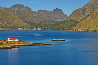 Austnesfjorden with Vestpollen chapel