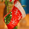 Christmas stocking hanging in a fir tree
