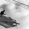 Seaman working in the rigging - monochrome