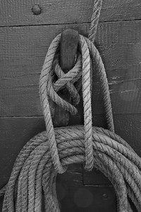 Knots and ropes on a tall ship