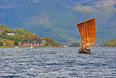 Nordland boat sailing on Ofotfjorden near Evenes