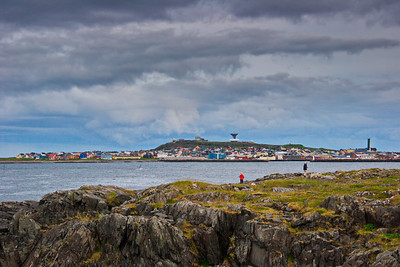 The town Vardø seen from Skagen on a stormy summer day