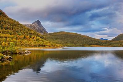 Lake on island Senja in northern Norway