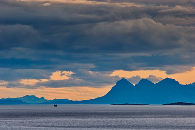 Ship crossing Tjelsundet in northern Norway