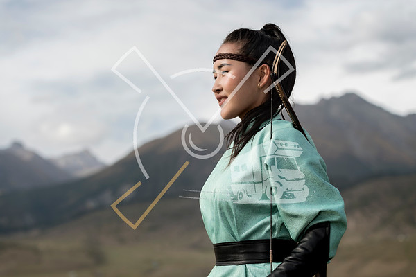 Archer from Mongolia dressed up in her traditional archering outfit, when participating at the World Nomad Games 2018 in Kyrgyztan.