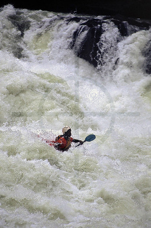 Whitewater kayaking on the Zambezi River, Zambia