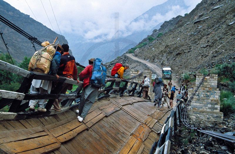 Crossing a damaged bridge, road from Skardu to Askole, Baltistan, Pakistan
