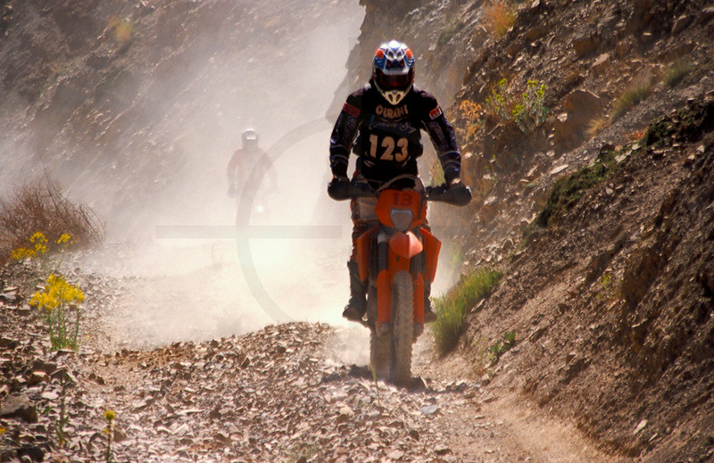 Off-road motocyclists, M'Goun area, High Atlas, Morocco