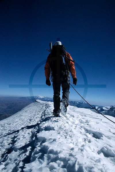 On the summit ridge of the south peak of Illimani, Cordillera Real, Bolivia