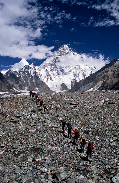 Trekking group on the way from Concordia to Broad Peak and K2, Baltistan, Pakistan