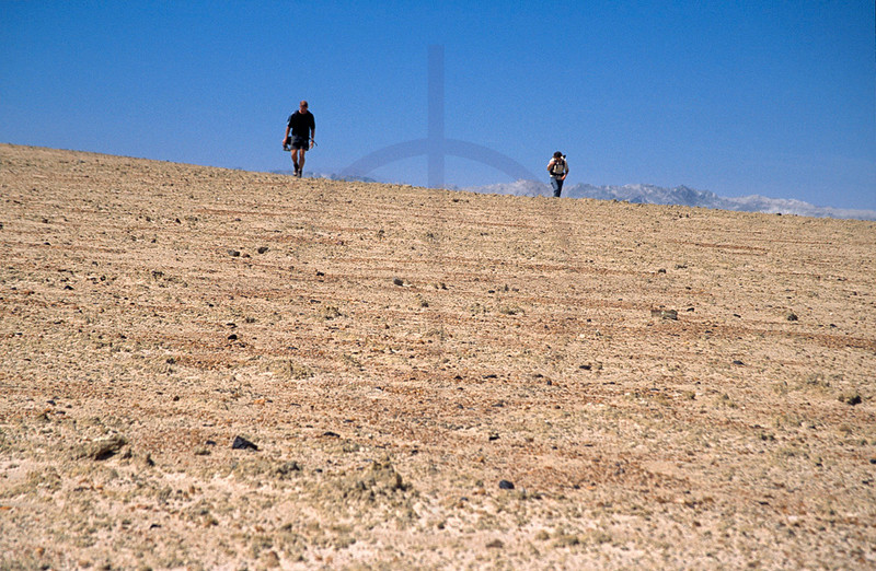 Couple hiking on the Welwitschia Plains, Namib Desert, Namibia