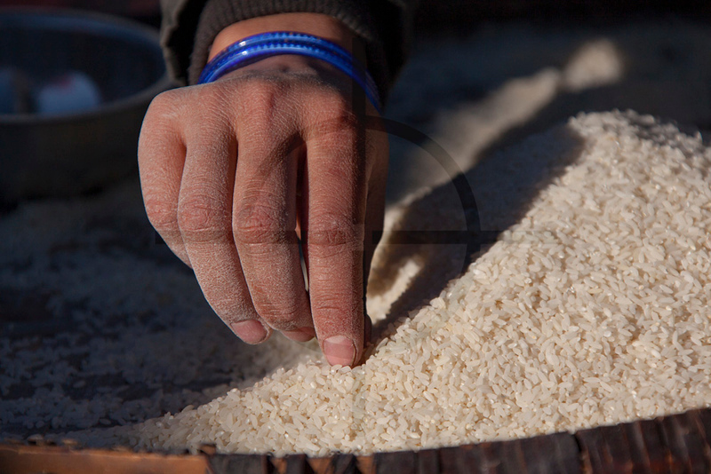 Taking out stones and the like from a pile of rice, Birethanti, Annapurna Massif, Nepal