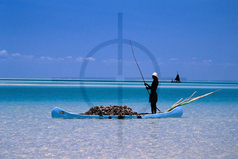Poling fisherman at low tide and dhow, Magaruque Island, Bazaruto Archipelago, Mozambique