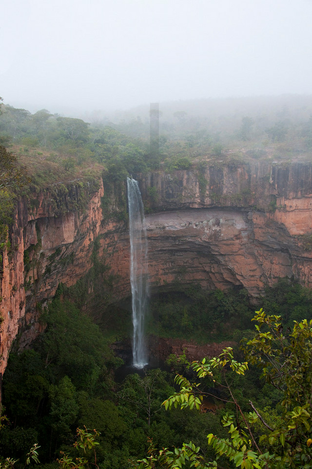 Bridal Veil Waterfall in morning mist, Chapada dos Guimerães National Park, Mato Grosso, Brazil