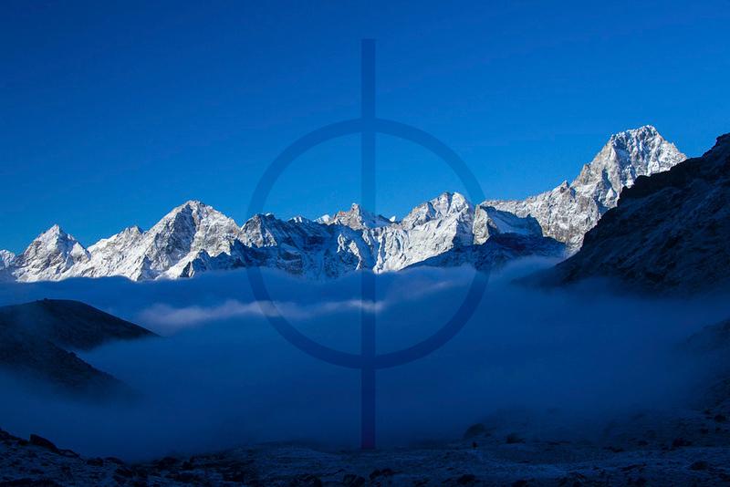 Above the clouds in the Himalaya, near Cho La Pass, Solukhumbu District, Nepal