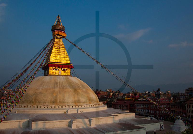 Boudhanath Stupa basking in late afternoon sun, Kathmandu, Nepal