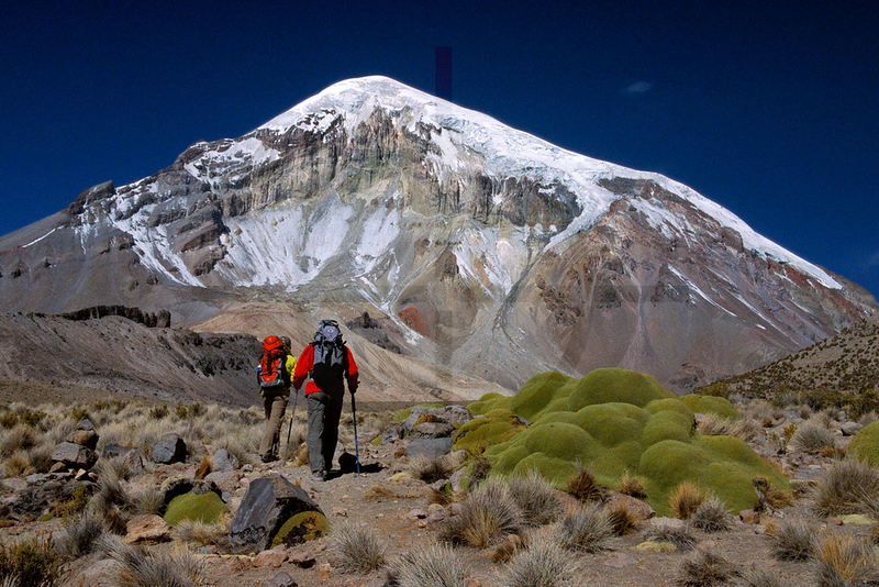 Hiking to base camp, Sajama northwest ridge route, Oruro Department, Bolivia