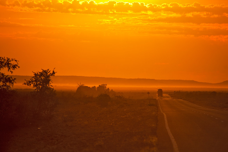 Early morning drive, North West Coastal Highway, Western Australia, Australia